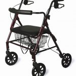 Walker with seat & hand operated brake